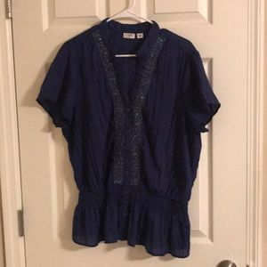 Cato Navy Blue Blouse With Sequined Detail 18/20W